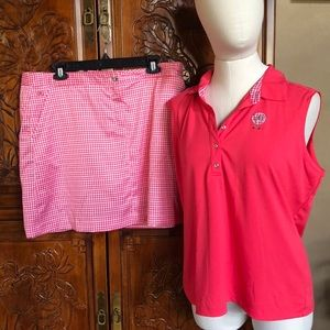 2pc Golf Top & Skirt. Coral colored